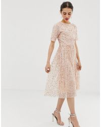 Angeleye Short Sleeve All Over Sequin Midi Dress - Natural