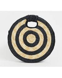 South Beach Exclusive Large Round Straw Contrast Cross Body Bag - Black
