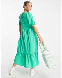 New Look Textured Tiered Midi Dress - Green