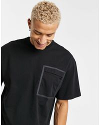 Only & Sons Oversize T-shirt With Taped Pocket - Black