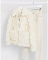Missguided Белая Свободная Куртка Из Искусственного Меха -белый