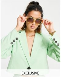 Reclaimed (vintage) Inspired Cropped Blazer - Green