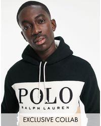 Polo Ralph Lauren - Polar negro y tostado con capucha, diseño color block y panel del logo en el pecho - Lyst