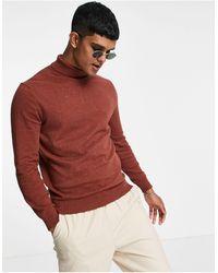 Burton Jersey color jengibre con cuello vuelto - Rojo