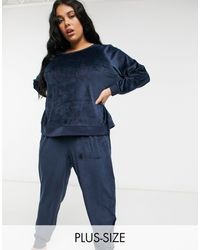 Chelsea Peers Curve Recycled Poly Super Soft Fleece Lounge Sweat And jogger Set - Black