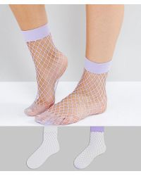 New Look - 2 Pack White And Lilac Fishnet Ankle Sock - Lyst