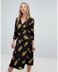 Miss Selfridge - Floral Wrap Midi Dress - Lyst