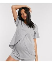 ASOS Asos Design Maternity - Mix En Match - Jersey Borstvoedings Pyjama T-shirt Met Overslag - Grijs