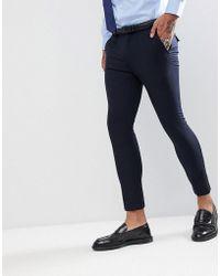 Rudie Pantalon de costume uni coupe courte super skinny - Bleu