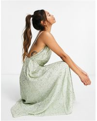 ASOS Robe mi-longue avec bretelles à ornements - sauge - Vert