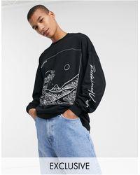 Reclaimed (vintage) Inspired - T-shirt à manches longues avec imprimé artistique - Noir