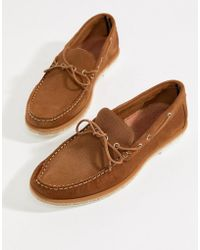 River Island - Loafer Boat Shoes With Stitch Detail In Tan - Lyst
