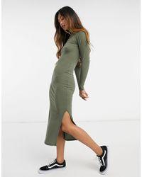 New Look Облегающее Платье Цвета Хаки В Рубчик С Высоким Воротником -зеленый