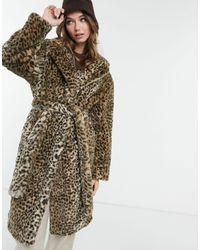 New Look Удлиненное Пальто Из Искусственного Меха Со Звериным Принтом -коричневый