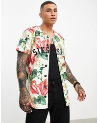 SIKSILK – buntes fußball-hemd mit blumenmuster - Mehrfarbig