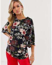 AX Paris Floral 3/4 Sleeve Blouse - Black