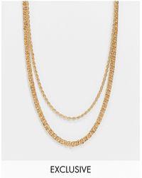 Reclaimed (vintage) Золотистое Многорядное Ожерелье Из Нескольких Цепочек Inspired-серебристый - Металлик