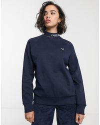Fred Perry Hoogsluitend Gestreept Sweatshirt Met Logo - Blauw