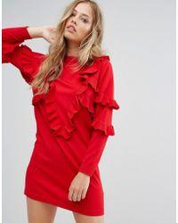 Suncoo - Frill Knit Jumper Dress - Lyst