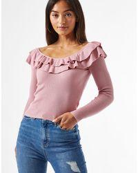 Miss Selfridge Бледно-розовый Ажурный Джемпер В Стиле Бардо -розовый Цвет