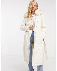 Fashion Union Doudoune à bordure en fausse fourrure et ceinture - Neutre