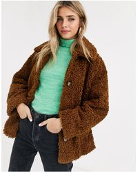 ASOS Teddy Button Through Coat - Brown