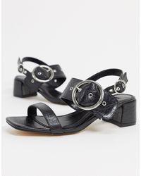 TOPSHOP Dakota - Chaussures à talons carrés avec boucle - Noir