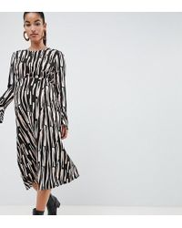 ASOS - Asos Design Maternity Stripe Column Midi Dress With Fluted Sleeve - Lyst