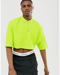 ASOS Cropped Oversized Polo Shirt With Half Sleeve And Zip Neck And Tipping In Neon Green