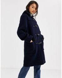 Gloverall Gloveral Original Duffle Mid Length Duffle Coat - Blue