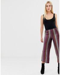 ASOS - Glitter Stripe Cropped Straight Leg Trouser - Lyst