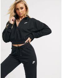 Nike – Essentials – Kurz geschnittenes, hochgeschlossenes Sweatshirt - Schwarz