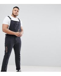 Liquor N Poker - Plus Ripped Dungarees With Embroidery - Lyst