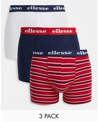 Ellesse 3 Pack Striped And Plain Boxers - Red