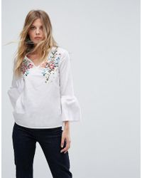 Warehouse - Embroidered Front V Neck Blouse - Lyst