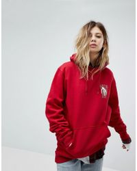 Vans - Oversized Hoodie In Red With Back Print - Lyst