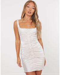 Missguided - Атласное Платье Цвета Шампанского Со Сборками -белый - Lyst