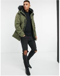 Hollister Faux Fur Lined Hooded Parka Coat - Green