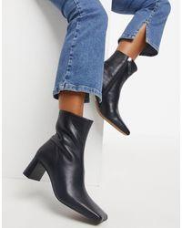 ASOS Rain Premium Square Toe Leather Boots - Black