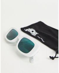 ASOS Белые Прямоугольные Солнцезащитные Очки Среднего Размера С Зелеными Линзами - Белый