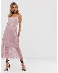 Keepsake Sense Lace Midi Dress With Corset Detail - Pink