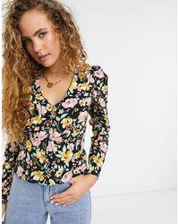 Warehouse Floral Print Button Front Blouse - Black