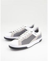HUGO Кожаные Кроссовки Белого И Серого Цветов Switon-серый
