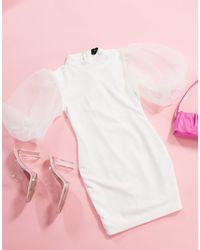 AX Paris - Белое Платье Мини С Пышными Рукавами Из Органзы -белый - Lyst