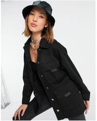 TOPSHOP Lightweight Jacket With Utility Pockets - Black