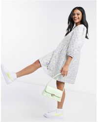 Pieces Quilted Smock Dress - Multicolor