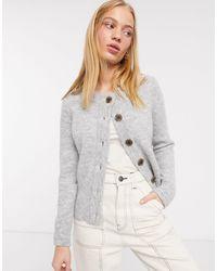 SELECTED Femme - Gebreid Vest Met Contrasterende Knopen - Grijs