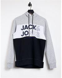 Jack & Jones Colourblock Logo Hoodie - Black