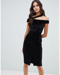 Girls On Film - Velvet Studded Midi Dress With Strap Detail - Lyst