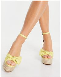 ASOS Tier Bow Espadrille Wedges - Yellow